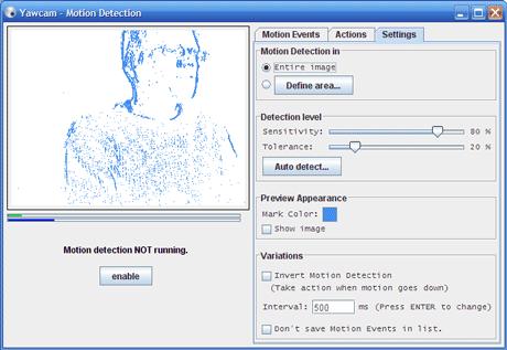 Screenshot: Motion detection